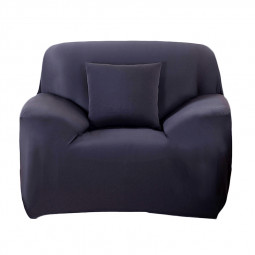 Polyester Spandex Fabric 1-Piece Stretch Slipcover for 1-Seat Sofa - Black