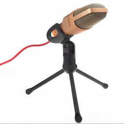 PC Studio Pro Condenser Microphone Sound Recording Tripod Shock Mount - Gold