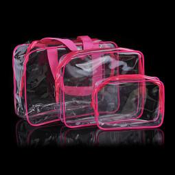 3 Pcs Transparent Waterproof Makeup Cosmetic Bags Set - Rose Red