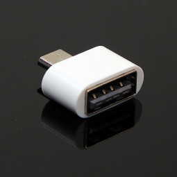 Mini Micro USB OTG to USB 2.0 Adapter Plug for Samsung Android Device - White