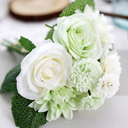 Simulation Artificial Silk Rose Bouquet for Wedding Home Decoration - White + Green