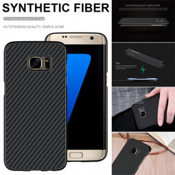 Carbon Fiber Phone Cover Shell Case for Samsung S7 Edge - Black