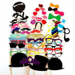 58pcs Funny Beard Lip Colorful Booth Wedding Birthday Photo Props