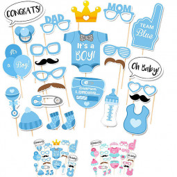 25pcs Blue Shower Party Boy Birthday Mask Photo Booth Props