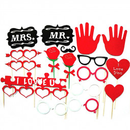 18pcs Mr & Mrs Cute Glass Party Wedding Birthday Photo Booth Props