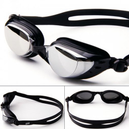 Adjustable Anti Fog Waterproof Glasses Swimming Goggles - Black