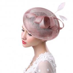 Elegant Women's Fascinator Hat Feather Flower Decor Party Hat