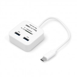 USB 3.1 Type C USB 3.0 Hub SD TF Memory Card Reader Adapter for Macbook - White