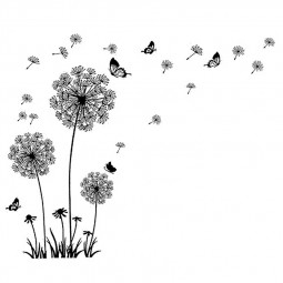 Black Dandelion Wall Sticker Removable Flower Wall Decal Home Decor