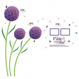 Purple Sphere Flower Ball Butterfly Wall Decor Sticker