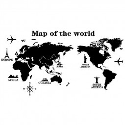 Removable World Map Decal Art Mural Home Room Decor Wall Stickers