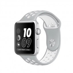 Silicone Replacement Wrist Strap Bracelet for Apple Watch 38mm - Silver + White