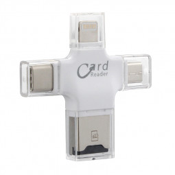 4 in 1 OTG Flash Memory Card Reader for 8pin Android Type C USB Devices - White