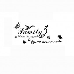 English Family Love Never End Engraved Room Decoration Wall Sticker