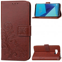 Leather PU Flip Case with Stand Card Holster Wallet Case for Samsung Galaxy S8 - Brown