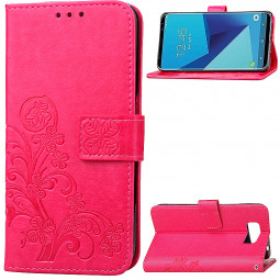 Clover Pattern PU Leather Wallet Case Cover for Samsung Galaxy S8 Plus - Rose Red