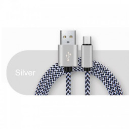 1M Metal Knit Wave Braid Android Charging Cable for Samsung HTC Huawei - Silver