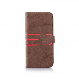 Vintage Frosted PU Leather Wallet Card Stand Phone Case for iPhone 7/8 - Brown