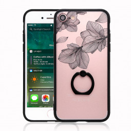 Clear Black Lace Hard PC Cover Floral Pattern Ring Holder Case for iPhone 7/8 - Z-07
