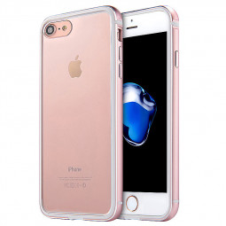 Slim Aluminum Metal Frame + Clear Back Acrylic Case for iPhone 7/8 - Rose Gold