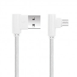 1M Right Angle Micro USB Android Charger USB Sync Data Cable for Huawei Samsung HTC - White