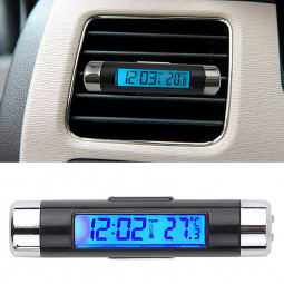 Car Vent Digital LCD Display Thermometer with Clock Indicator