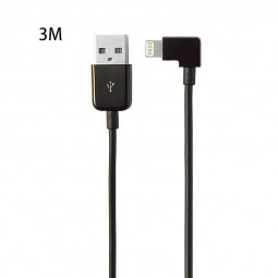 3M Right Angle 90 Degree 8pin Charging USB Cable for Apple iPhone X 8 8 Plus 7 6 6S - Black