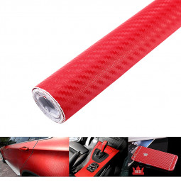 200 * 60cm 3D Carbon Fiber Vinyl Car Body Wrapping Fiber Sticker - Red