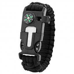 Outdoors Survival Bracelet 5 in 1 Whistle Flint Scraper Striker Compass Wristband - Black