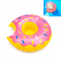 Inflatable Mini Coconut Beverage Cup Holder Drink Pool Float Home Party Decoration - Pink