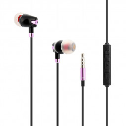 Universal 3.5mm Earphones In-Ear Headset with Remote Mic MP3 Function for iPhone Samsung - Black + Rose Gold
