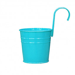 Flower Pot Hanging Balcony Garden Plant Metal Iron Planter for Home Decor - Blue