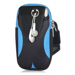 5.5inch Double Layer Sports Armbands with External Headphone Jack Case for Smartphone - Black + Blue