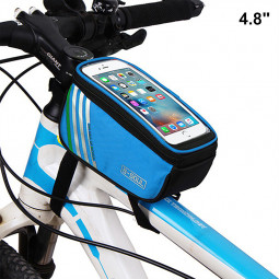 4.8inch Bike Bicyle Front Top Mobile Phone Storage Bag Touch Screen Phone Protective Pouch - Blue