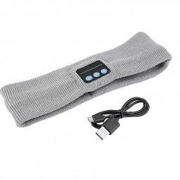 Bluetooth Wireless Headset Smart Wearable Headphone Stereo Music Headband with Mic for Smartphones - Light Gray