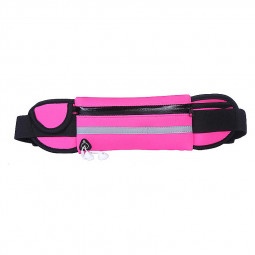 Sports Outdoors Unisex Waist Belt Bag Running Travel Waterproof Pouch Keys Money Mobile Bag - Rose Red