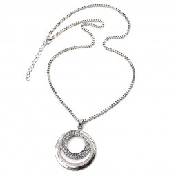 Women's Shiny Rhinestone Silver Plated Long Sweater Chain Pendant Necklace