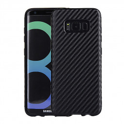 Samsung Carbon Fibre Texture PU Leather Protection Back Cover Case for Galaxy S8 - Black