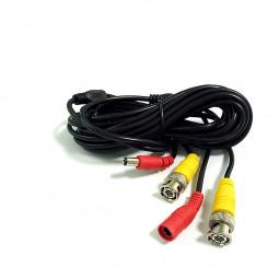 5M BNC DC CCTV Security Monitor Video Camera DVR Data Power Cable - Black
