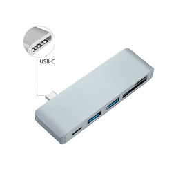 Type-C USB 3.1 Multi-Port Adapter with USB-C Charging Port Combo Hub for MacBook - Gray
