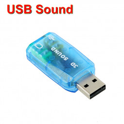 External USB 5.1 3D Sound Card 3.5mm Headphone Record Loud Speaker Audio Adapter for Laptop - Blue