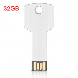 32GB USB Flash Drive Metal Key Shape USB Flash Disk for PC Laptop - Silver
