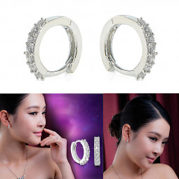 Women's Charm Crystal Silver Stud Hoop Earrings Jewelry Shiny Ear Clip
