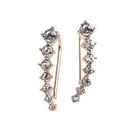 Womens Fashion Rhinestone Shiny Crystal Earrings Ear Hook Stud Jewelry - Gold