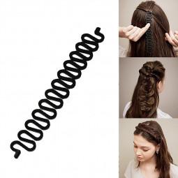 Hair Braiding Tool Roller with Hook Magic Hair Twist Styling Maker - Black