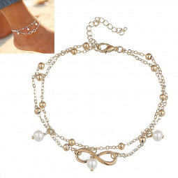 Women's Fashion Pearl Anklet Ankle Bracelet Foot Jewelry - Gold