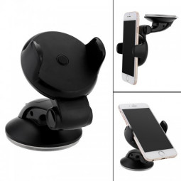 360 Rotation Sucker Support Car Dash Phone Holder Stand Mount - Black