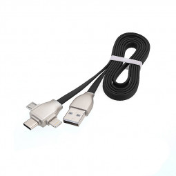 1M 3 in 1 Charge Lead Cord 8pin Micro USB Type-C Charger Flat Noddle Charge Cable for iPhone Android Phones - Black