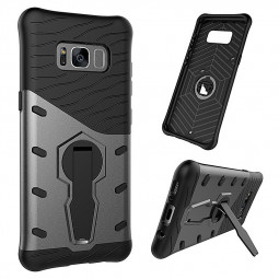 360 Rotating Stand Dual Shockproof Tough Cases Cover for Samsung Galaxy S8 - Black