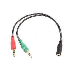 3.5 mm Stereo Audio Cable 1 Female to 2 Male Y Splitter Earphone Headphone Jack Adapter Microphone Connect Cable